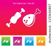 meat icon in colored square box.... | Shutterstock .eps vector #1153636807
