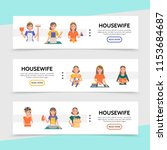 flat housewife life horizontal... | Shutterstock .eps vector #1153684687