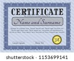 blue diploma template or... | Shutterstock .eps vector #1153699141