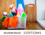 basket with cleaning items on... | Shutterstock . vector #1153712641