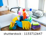 basket with cleaning items on...   Shutterstock . vector #1153712647