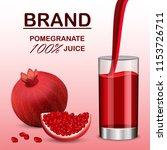 pomegranate juice concept... | Shutterstock . vector #1153726711