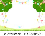 flags and balloons in the forest | Shutterstock .eps vector #1153738927