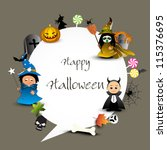 halloween set with copy space... | Shutterstock .eps vector #115376695
