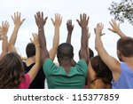 diverse volunteer group raising ... | Shutterstock . vector #115377859