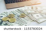 bitcoins new currency and... | Shutterstock . vector #1153783024