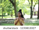 young sorrowful black woman... | Shutterstock . vector #1153813327