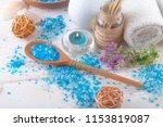 spa accessories for massage in... | Shutterstock . vector #1153819087