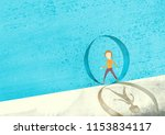 a person who moves along the... | Shutterstock . vector #1153834117