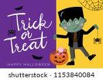 happy halloween greeting card... | Shutterstock .eps vector #1153840084
