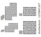 set of labyrinths  mazes...   Shutterstock .eps vector #1153841167