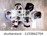 elevated view of businesspeople ... | Shutterstock . vector #1153862704