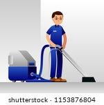 cleaning service man. floor ... | Shutterstock .eps vector #1153876804