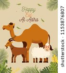 happy eid al adha greeting with ... | Shutterstock .eps vector #1153876807