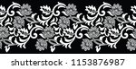 seamless black and white floral ... | Shutterstock .eps vector #1153876987