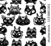 seamless pattern with cute cats ... | Shutterstock .eps vector #1153881301