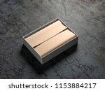 opened white gift box mockup...   Shutterstock . vector #1153884217