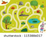 rabbit  maze game for children. ... | Shutterstock .eps vector #1153886017
