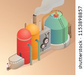 factory building with pipes.... | Shutterstock .eps vector #1153898857