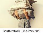 female hands holding stack...   Shutterstock . vector #1153907704