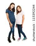 two beautiful young girls... | Shutterstock . vector #115392244