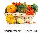 Autumn Pumpkins In A Straw...
