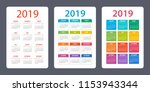 calendar set 2019 year   vector ... | Shutterstock .eps vector #1153943344