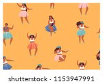 girls playing ukulele and... | Shutterstock .eps vector #1153947991