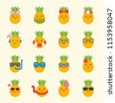 cute pineapple with face in... | Shutterstock .eps vector #1153958047