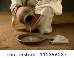 jesus with a jug of water and a ... | Shutterstock . vector #115396537