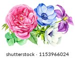 beautiful bouquet of flowers ... | Shutterstock . vector #1153966024