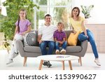 happy family with cute children ... | Shutterstock . vector #1153990627