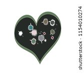 funky kids style heart vector... | Shutterstock .eps vector #1154010274