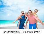 happy beautiful family on white ...   Shutterstock . vector #1154011954