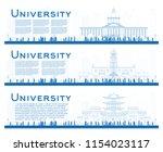 outline set of university... | Shutterstock .eps vector #1154023117