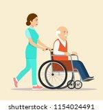 nurse strolling with elder grey ...   Shutterstock .eps vector #1154024491