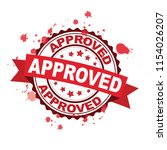 red rubber stamp with approved... | Shutterstock .eps vector #1154026207
