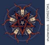 stylish pentagram with goat... | Shutterstock .eps vector #1154027341