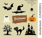 happy halloween collection ... | Shutterstock .eps vector #1154033011