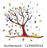 beautiful autumn tree with red  ... | Shutterstock .eps vector #1154045014