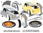 transport worker mini pickup... | Shutterstock .eps vector #1154053681