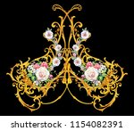 golden arabesque with roses  | Shutterstock . vector #1154082391