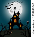 haunted house illustration with ... | Shutterstock .eps vector #1154093047