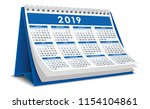 calendar desktop 2019 in blue | Shutterstock .eps vector #1154104861