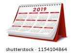 desktop calendar 2019 in red...   Shutterstock .eps vector #1154104864
