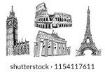 european landmarks vector... | Shutterstock .eps vector #1154117611