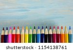 school notebook color pencils... | Shutterstock . vector #1154138761
