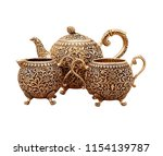 Set Of Antique Teapot Isolated...