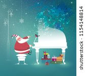 cute little santa claus sings... | Shutterstock .eps vector #1154148814