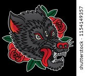 wolf traditional tattoo  vector ... | Shutterstock .eps vector #1154149357